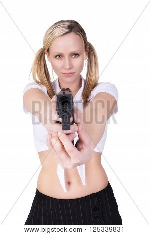 Sexy woman killer isolated on white background.