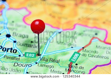 Vila Real pinned on a map of Portugal