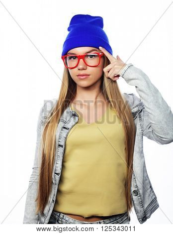 Young cute smiling  hipster girl