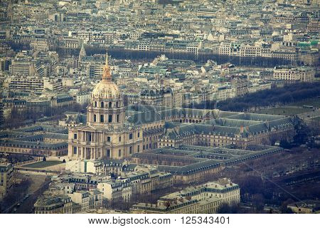 Aerial panorama of Paris from Montparnasse tower with view at Dome des Invalides - retro styled photo
