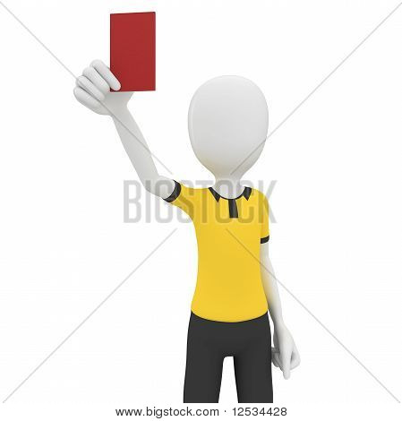 3D Man Referee With Red Card