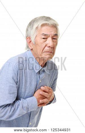 portrait of enior Japanese man heart attack