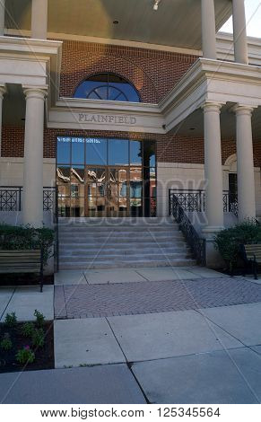 PLAINFIELD, ILLINOIS / UNITED STATES - SEPTEMBER 20, 2015: The front entrance of the Plainfield Village Hall in downtown Plainfield.