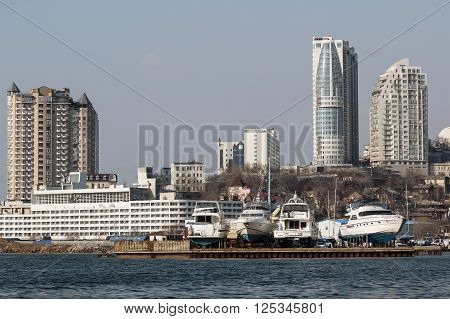 pier with yachts in the city of Vladivostok