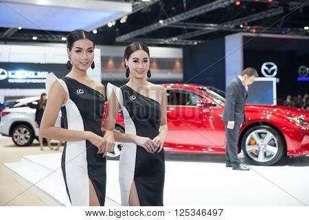 BANGKOK - MARCH 22: Unidentified models on display of Lexus showroom at The 37 th Thailand Bangkok International Motor Show on March 22 2016 in Bangkok Thailand.