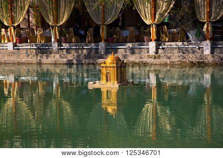 BUKHARA UZBEKISTAN - 2016 March 20:  Labi Hauz pond is the popular place among the tourists