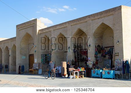 Bukhara Uzbekistan - 2016 March 20: Taqi Sarrafon market in the old city center