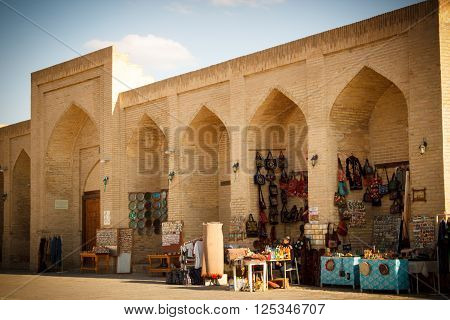 Tourist in the Historic center of Bukhara near spherical Trading Dome Bukhara Uzbekistan, 2016 March 19