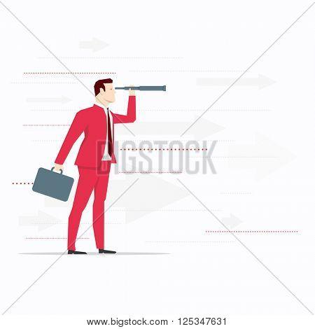 Businessman looks through a telescope. Vector business concept illustration.