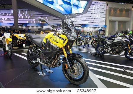 BANGKOK - MARCH 22: Yamaha Super Tenere motorcycle on display at The 37 th Thailand Bangkok International Motor Show on March 22 2016 in Bangkok Thailand.
