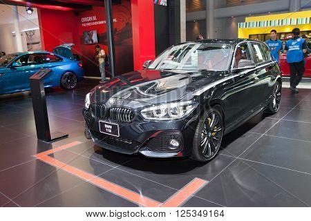 BANGKOK - MARCH 22: BMW 118i car on display at The 37 th Thailand Bangkok International Motor Show on March 22 2016 in Bangkok Thailand.