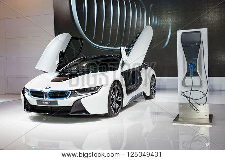 BANGKOK - MARCH 22: BMW i8 car on display at The 37 th Thailand Bangkok International Motor Show on March 22 2016 in Bangkok Thailand.