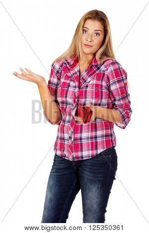 Woman holding wallet and gesturing dont know