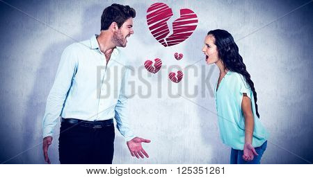 screaming couple having argument against white background