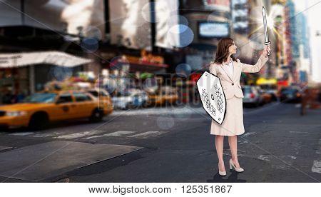 Corporate warrior against blurry new york street