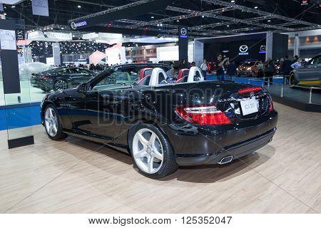 BANGKOK - MARCH 22: Mercedes BenzSLK 200 car on display at The 37 th Thailand Bangkok International Motor Show on March 22 2016 in Bangkok Thailand.