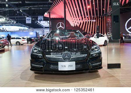 BANGKOK - MARCH 22: Mercedes Benz SLK 200 car on display at The 37 th Thailand Bangkok International Motor Show on March 22 2016 in Bangkok Thailand.