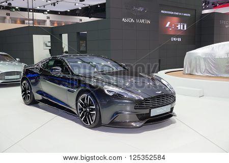 BANGKOK - MARCH 22: Aston Martin Vanquish car on display at The 37 th Thailand Bangkok International Motor Show on March 22 2016 in Bangkok Thailand.