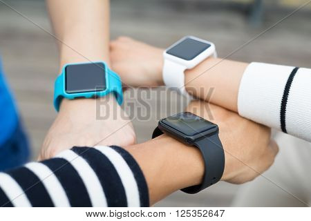 Group of people using wmart watch