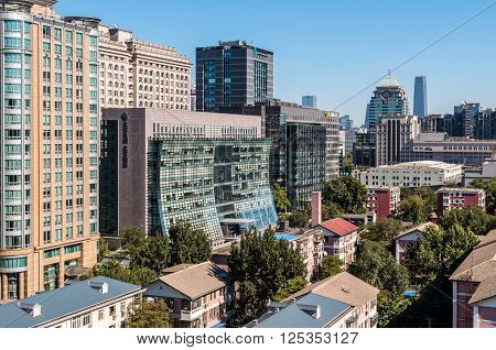 Beijing China - October 15 2013: View of contemporary buildings of the Dongcheng District located in the center of Beijing with a history of 700 years.