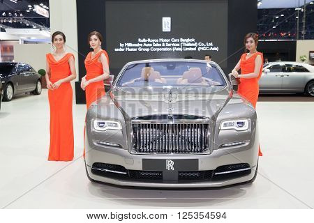 BANGKOK - MARCH 22: Roll Royce car with Unidentified models on display at The 37 th Thailand Bangkok International Motor Show on March 22 2016 in Bangkok Thailand.