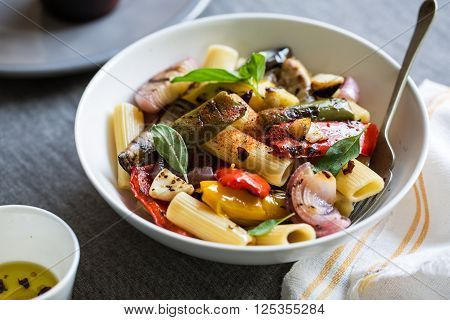 Rigatoni with roasted auberginebell pepper and garlic