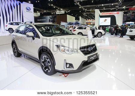 BANGKOK - MARCH 22: Subaru XV 2.0i-P car on display at The 37 th Thailand Bangkok International Motor Show on March 22 2016 in Bangkok Thailand.