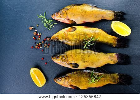 top view of fresh tench fish with aromatic herbs spices and vegetables on slate background close up