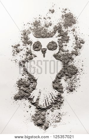 Mystic owl bird illustration made in grey ash