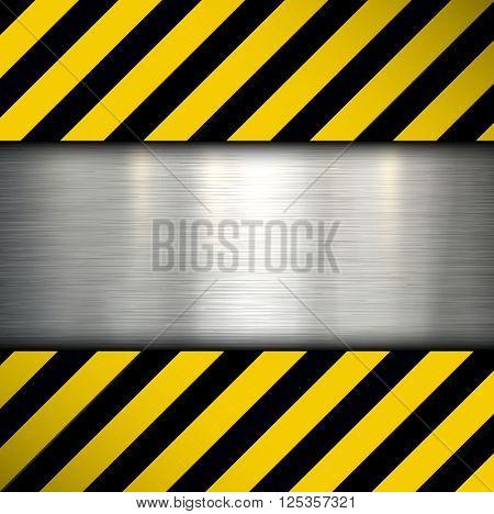 Metal plate on warning stripes background, vector illustration.