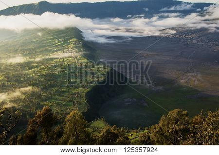 Viewpoint morning light at Mount Bromo is an active volcano and part of the Tengger massif in East Java Indonesia.
