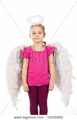 Beautiful Girl In Angel Wings And Nimbus