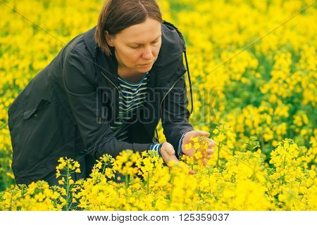 Female agronomist in blooming rapeseed field farmer controlling the growth of agricultural crops.