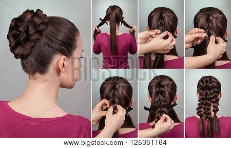 simple elegant hairstyle tutorial.Updo for long and medium hair.Woman brunette with evening hairstyle bun