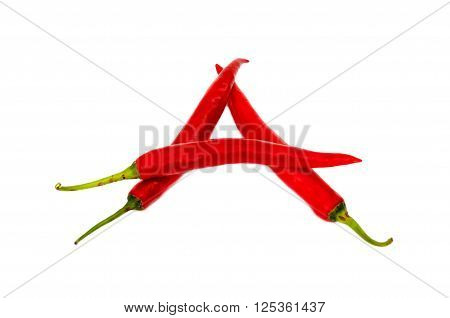 Font made of Hot red chili peppers isolated on white background - letter A