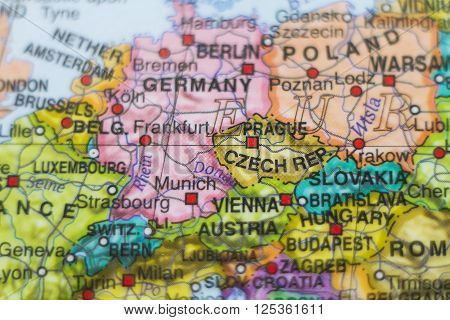 Beautiful photo of a map of Czech Republic and the capital Prague . ** Note: Shallow depth of field