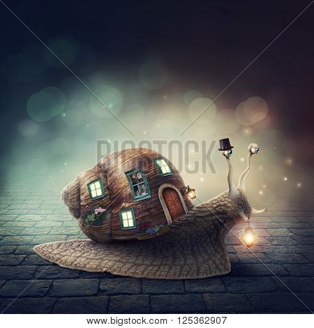Snail with a shell house with light