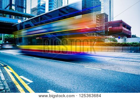 double decker bus,motion blurred