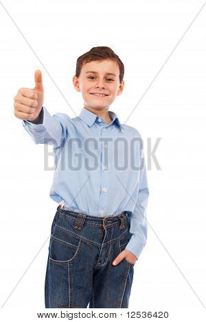 Boy Making Thumbs Up Sign