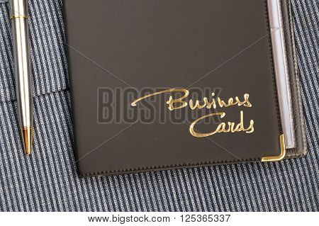 Case for business cards from a leather substitute