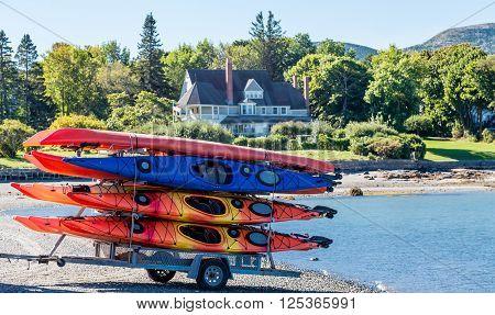 Colorful Kayaks on Trailer on Coast of Bar Harbor