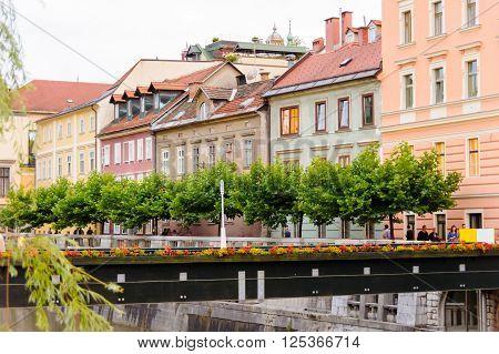 LJUBLJANA SLOVENIA - JULY 9 2009: Provisional wooden footbridge until the Grain Bridge is built