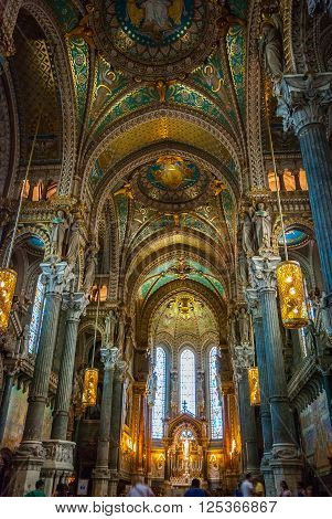 Interior Of Lyon Cathedral, France
