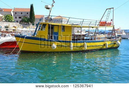Motorboat in jetty over harbor pier Croatia Europe