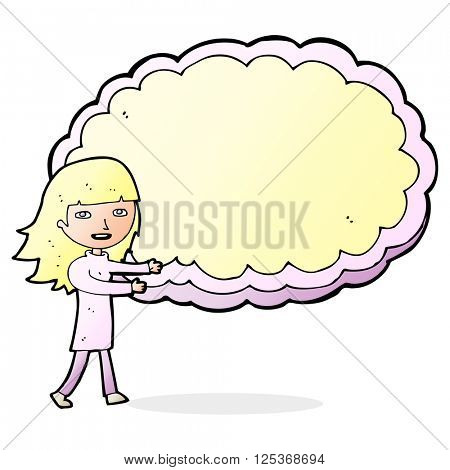 cartoon girl presenting cloud text space