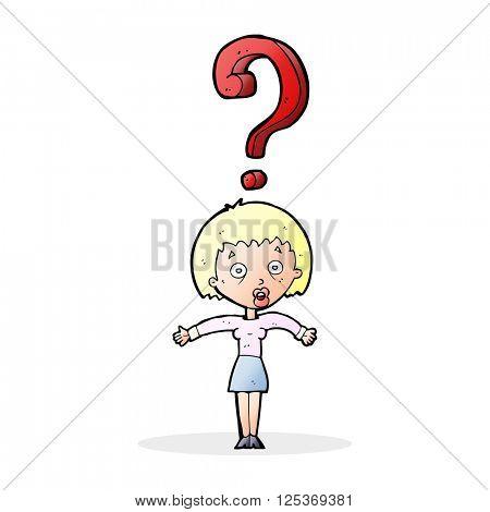 cartoon confused woman