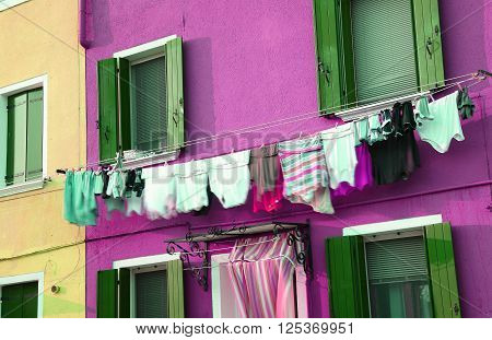 Just Washed Laundry And Lots Of Clothes Hung Out To Dry