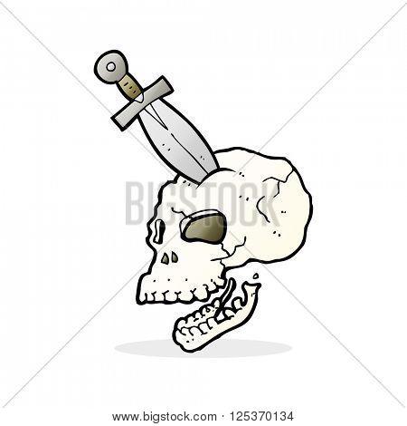 cartoon dagger stuck in skull