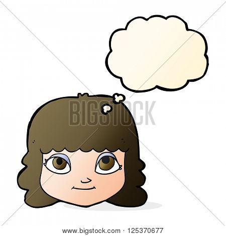 cartoon happy female face with thought bubble
