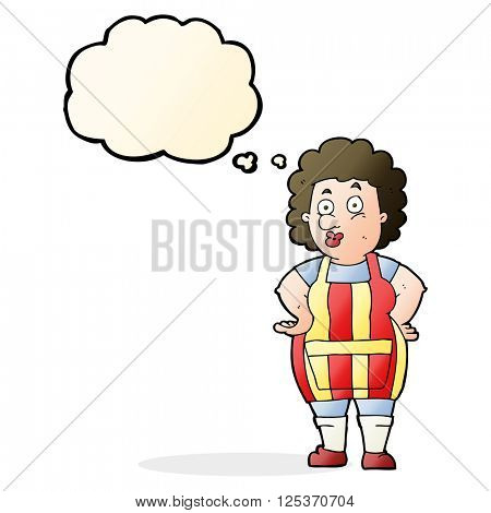 cartoon woman in kitchen apron with thought bubble